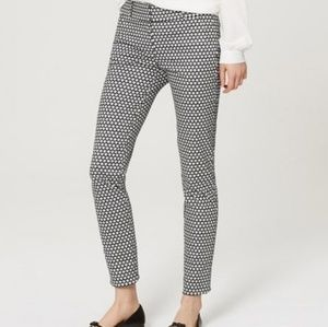 NWOT Loft Mosaic Ankle Julie Skinny Pants 6 B/W
